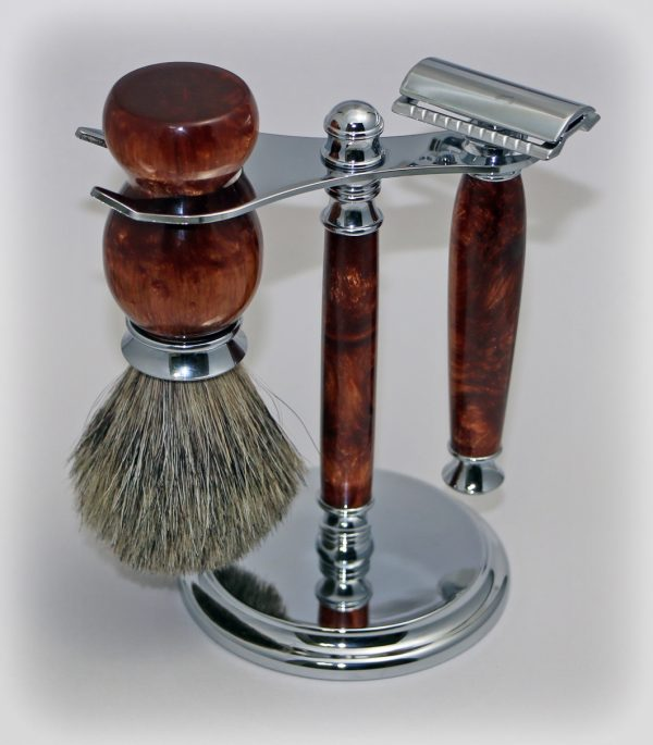 Earthen Bronze Badger Brush Shaving Set