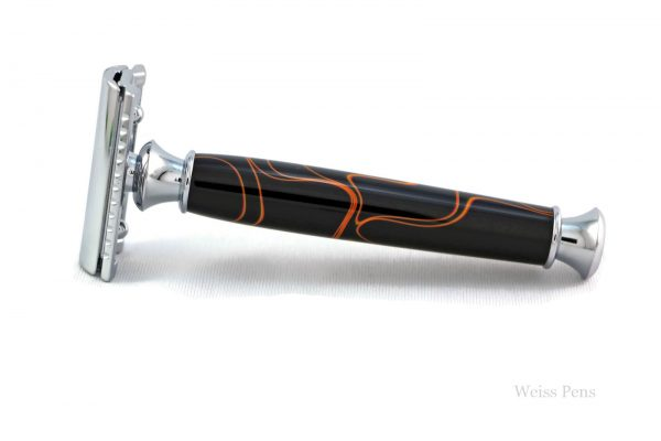 Black and Orange Lines Shaving Razor